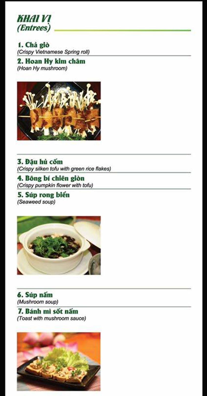 Menu Chay Hoan Hỷ - Bà Huyện Thanh Quan  1