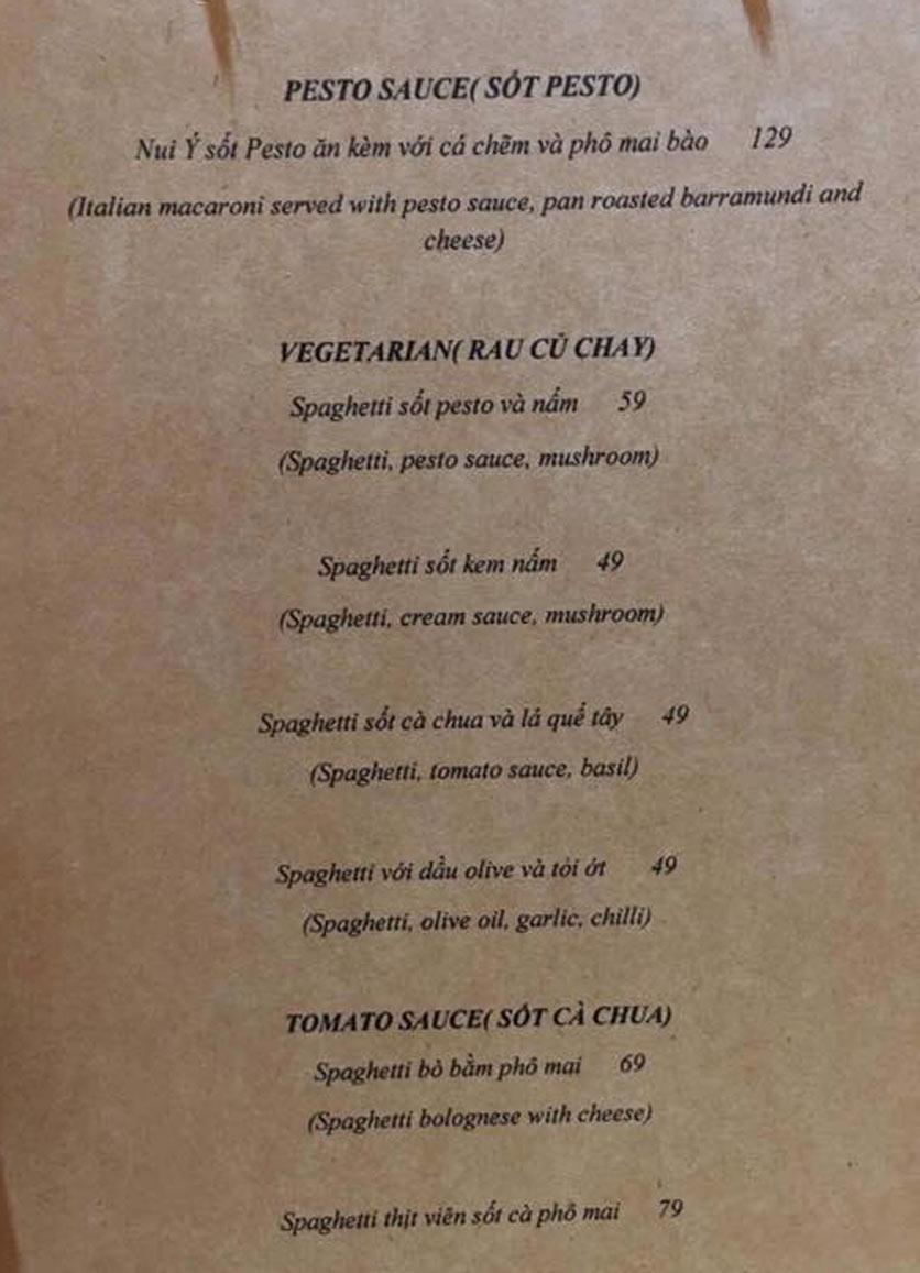 Menu Hẻm Spaghetti - Nguyễn Đình Chiểu 5