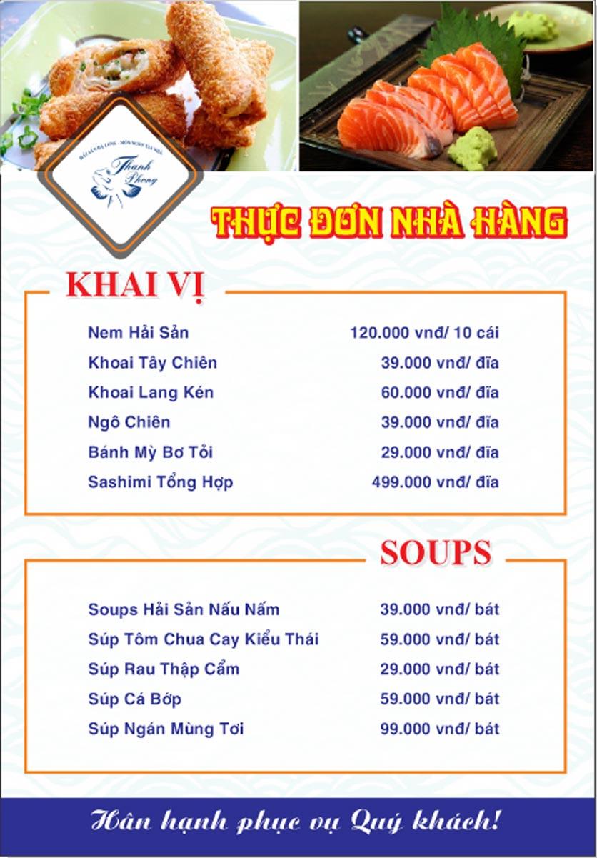 Menu Hải sản Thanh Phong - Đường K2 - Cầu Diễn   1