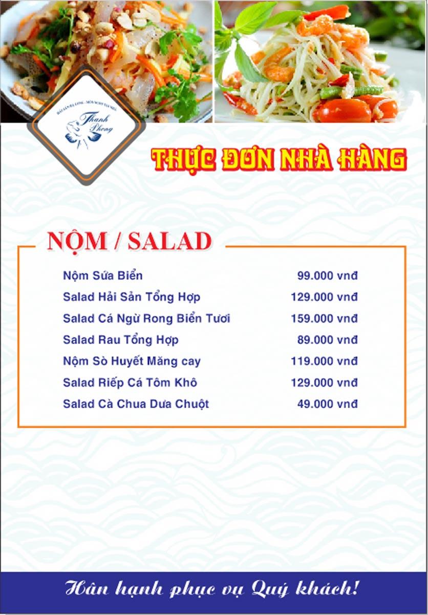 Menu Hải sản Thanh Phong - Đường K2 - Cầu Diễn   2