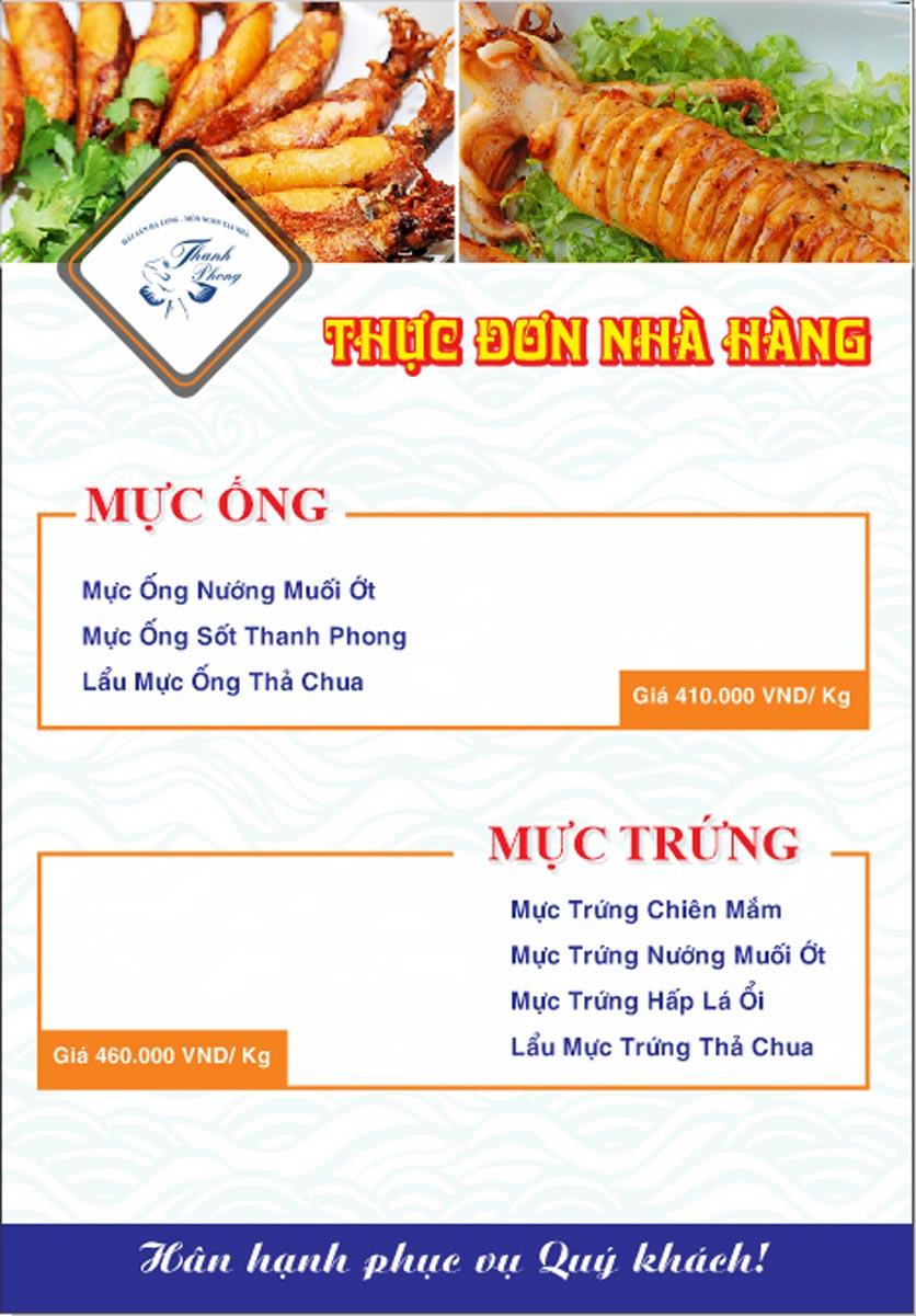 Menu Hải sản Thanh Phong - Đường K2 - Cầu Diễn   3