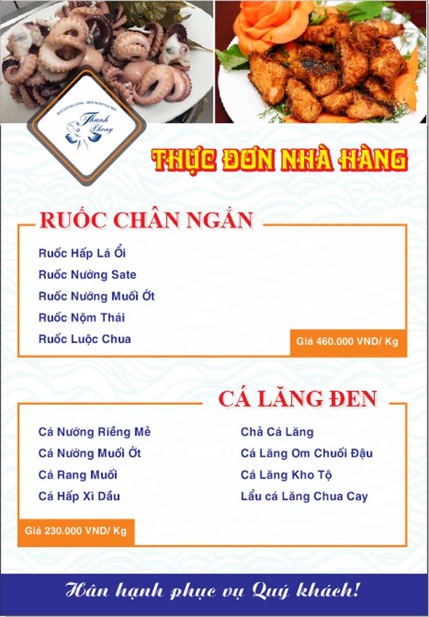 Menu Hải sản Thanh Phong - Đường K2 - Cầu Diễn   4