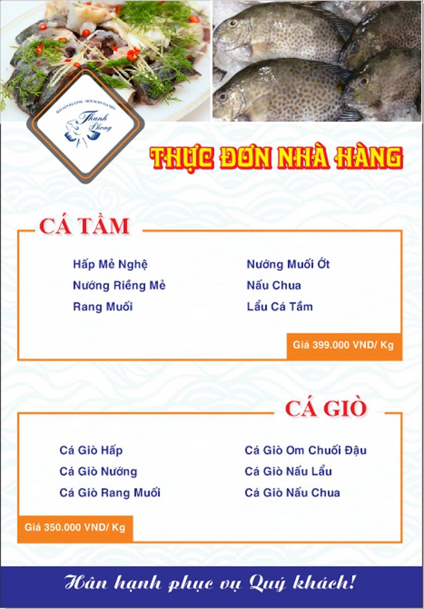Menu Hải sản Thanh Phong - Đường K2 - Cầu Diễn   5