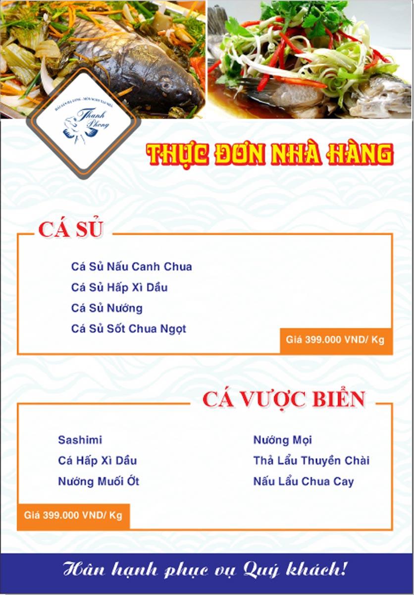 Menu Hải sản Thanh Phong - Đường K2 - Cầu Diễn   6