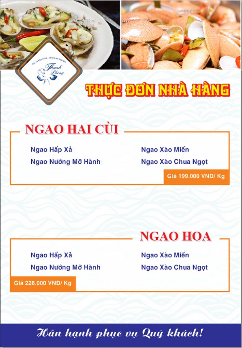 Menu Hải sản Thanh Phong - Đường K2 - Cầu Diễn   8