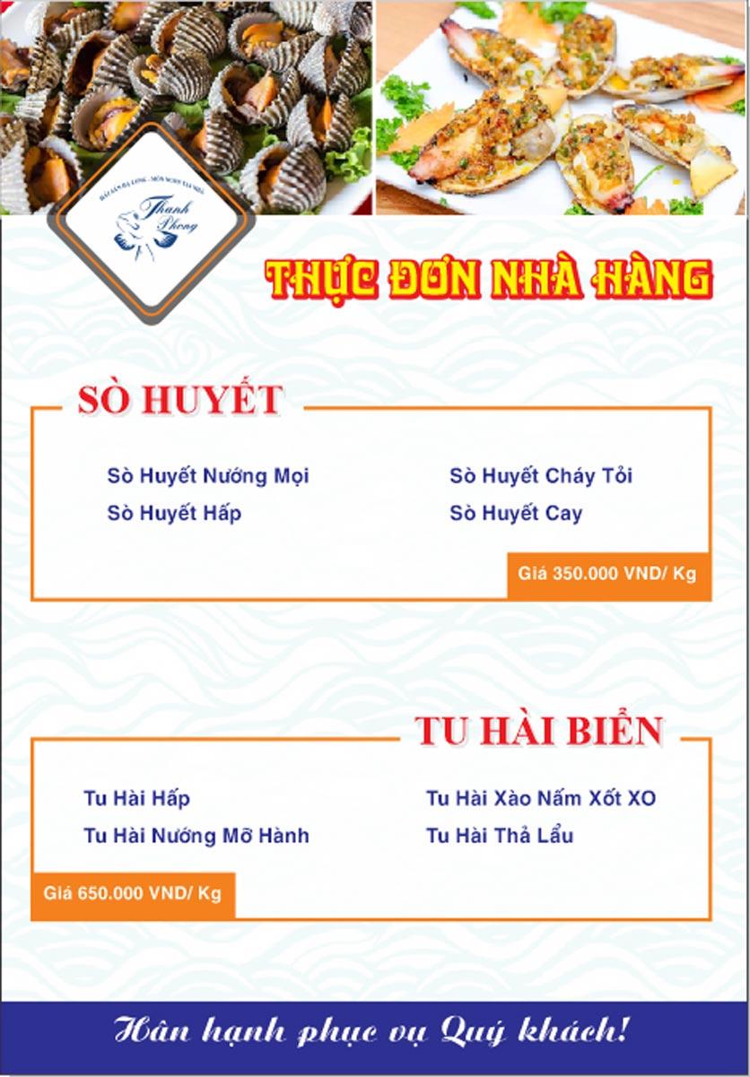 Menu Hải sản Thanh Phong - Đường K2 - Cầu Diễn   9