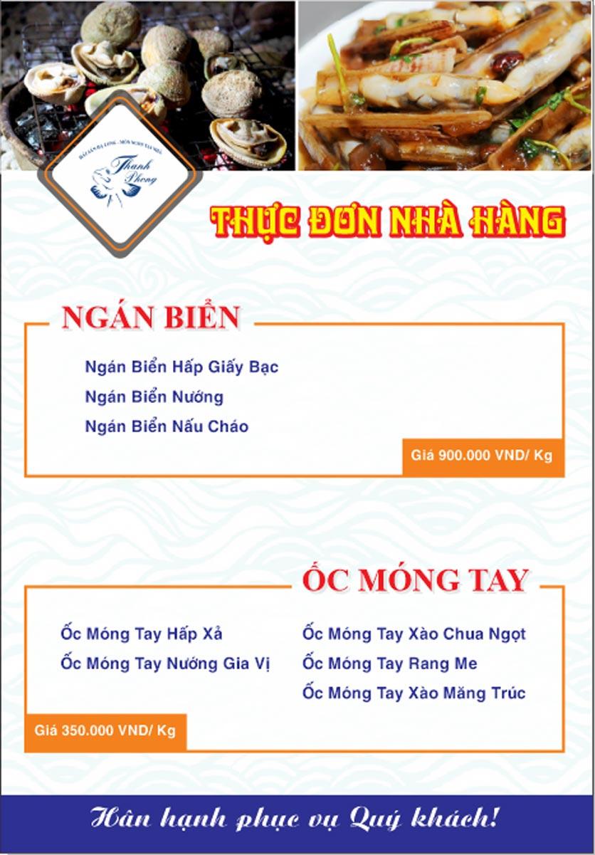 Menu Hải sản Thanh Phong - Đường K2 - Cầu Diễn   10