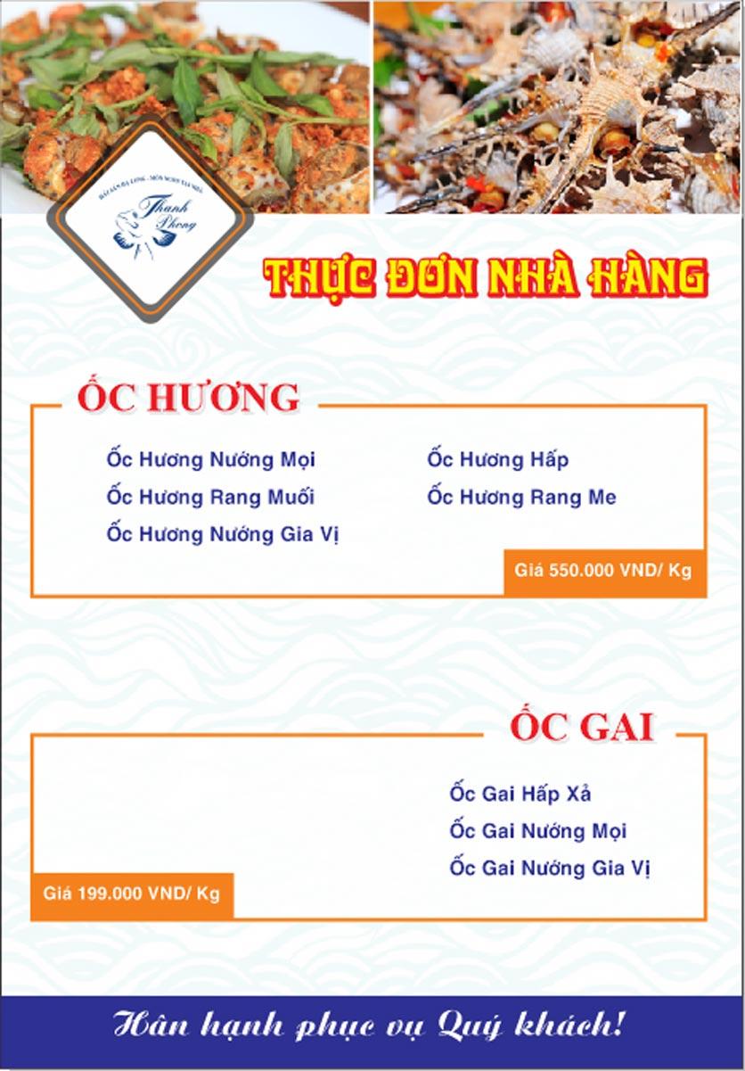 Menu Hải sản Thanh Phong - Đường K2 - Cầu Diễn   11