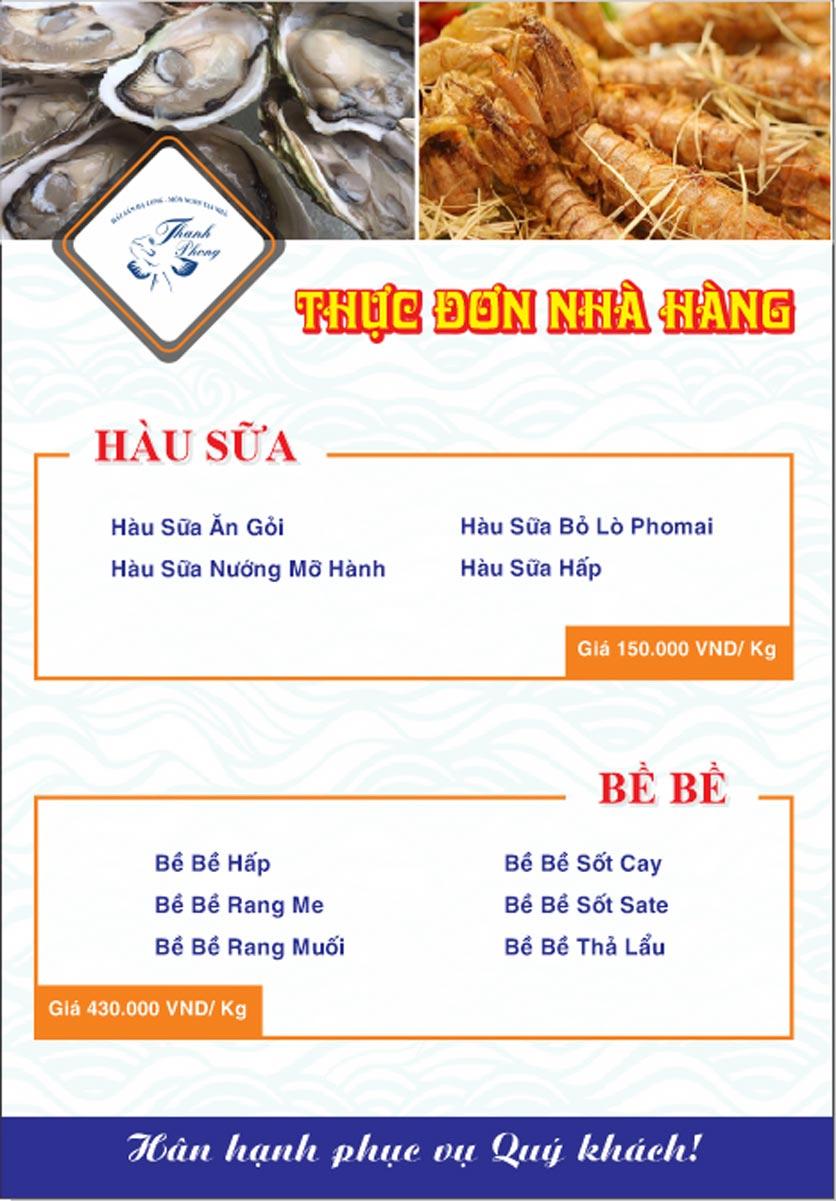 Menu Hải sản Thanh Phong - Đường K2 - Cầu Diễn   12