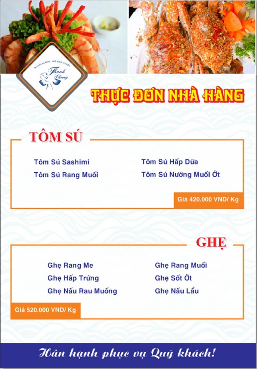 Menu Hải sản Thanh Phong - Đường K2 - Cầu Diễn   13