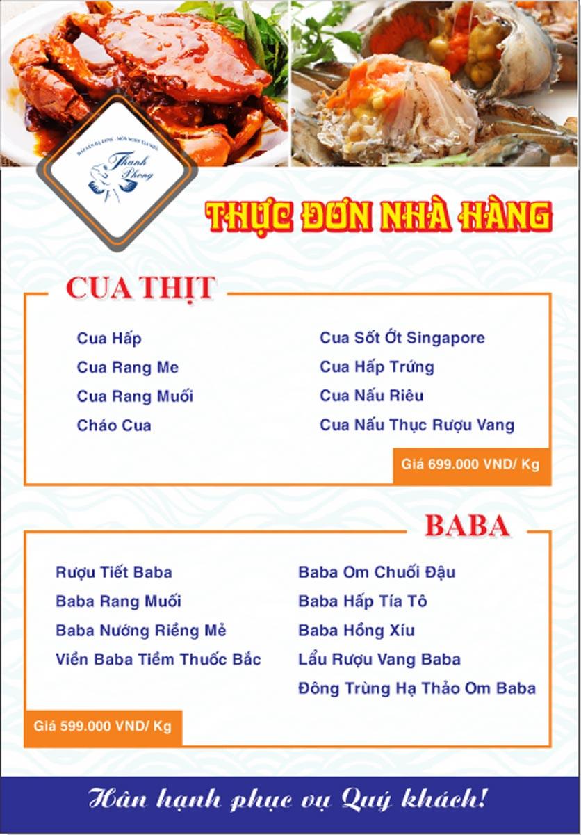 Menu Hải sản Thanh Phong - Đường K2 - Cầu Diễn   14