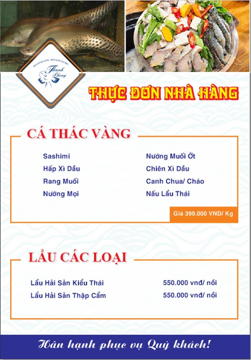 Menu Hải sản Thanh Phong - Đường K2 - Cầu Diễn   15