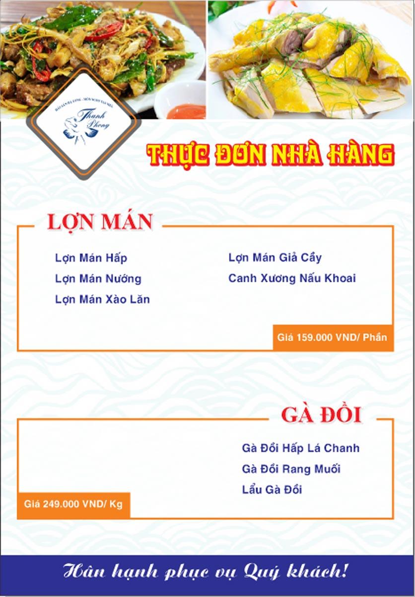 Menu Hải sản Thanh Phong - Đường K2 - Cầu Diễn   16