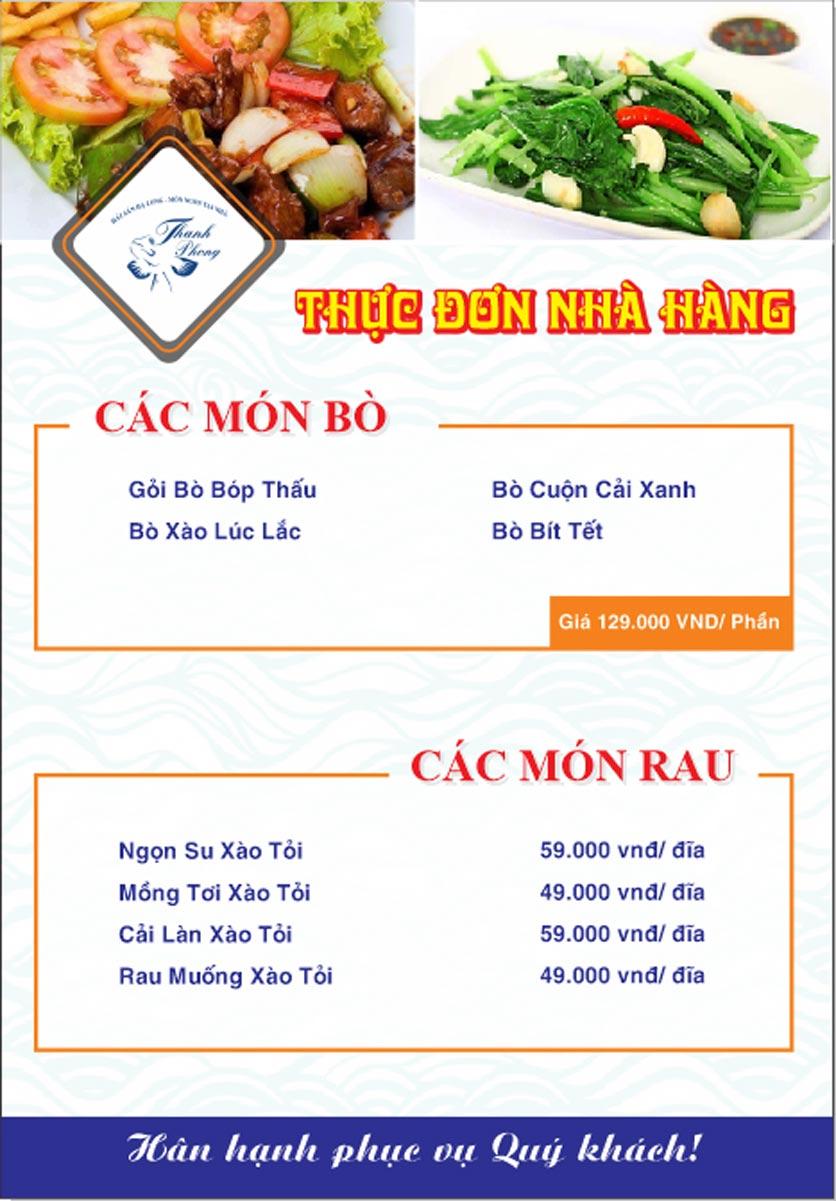 Menu Hải sản Thanh Phong - Đường K2 - Cầu Diễn   17