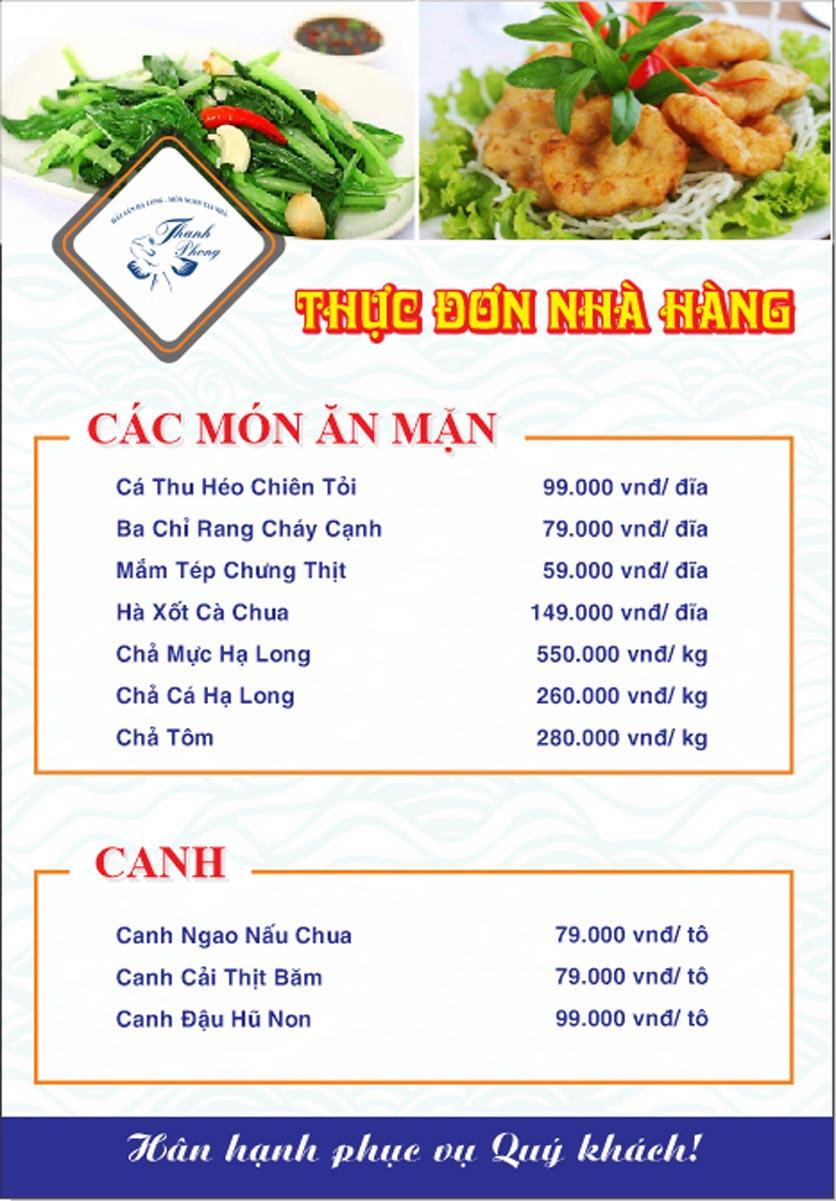 Menu Hải sản Thanh Phong - Đường K2 - Cầu Diễn   18