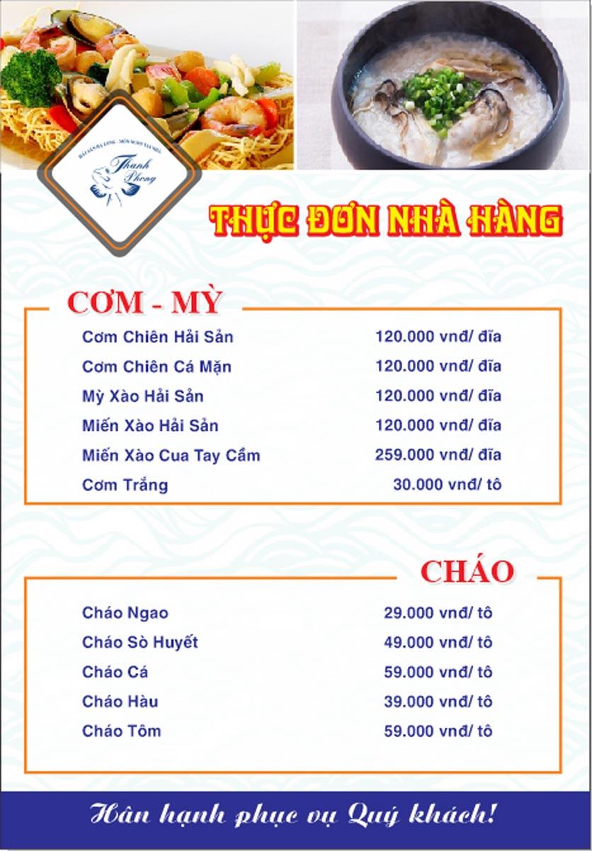 Menu Hải sản Thanh Phong - Đường K2 - Cầu Diễn   19