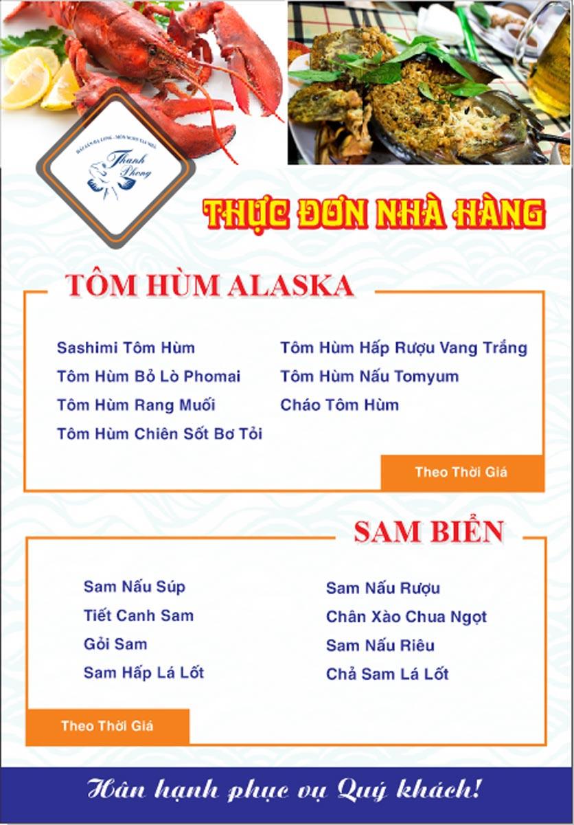 Menu Hải sản Thanh Phong - Đường K2 - Cầu Diễn   23