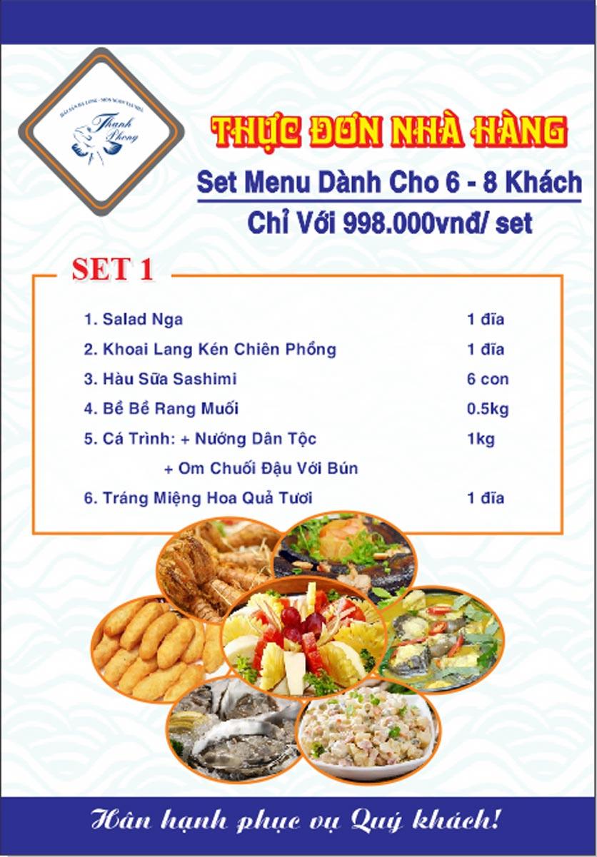 Menu Hải sản Thanh Phong - Đường K2 - Cầu Diễn   29