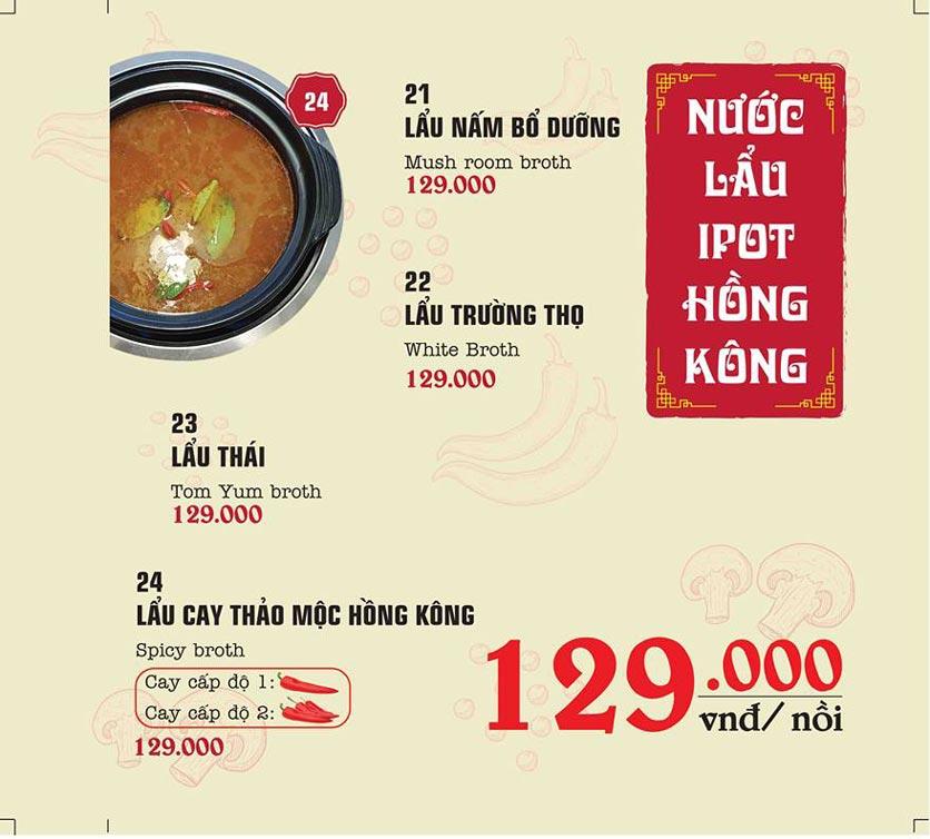 Menu IPOT – Lẩu Hồng Kông - Nguyễn Hoàng 10