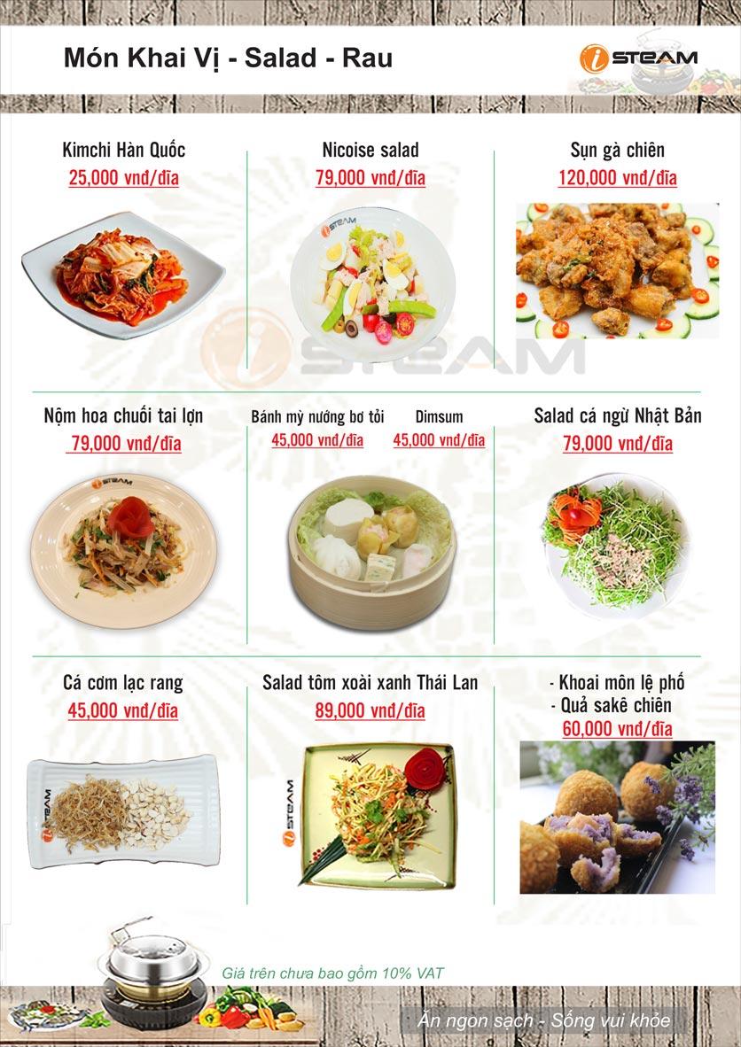 Menu Nhà hàng iSteam - Nguyễn Thị Định 5