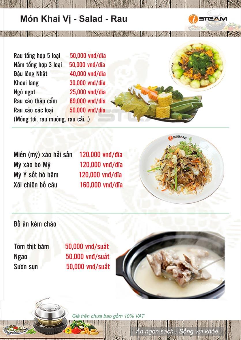 Menu Nhà hàng iSteam - Nguyễn Thị Định 6