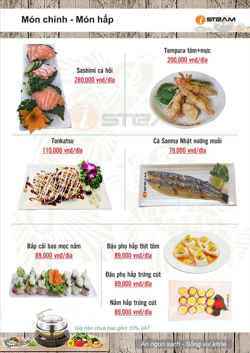 Menu Nhà hàng iSteam - Nguyễn Thị Định 7