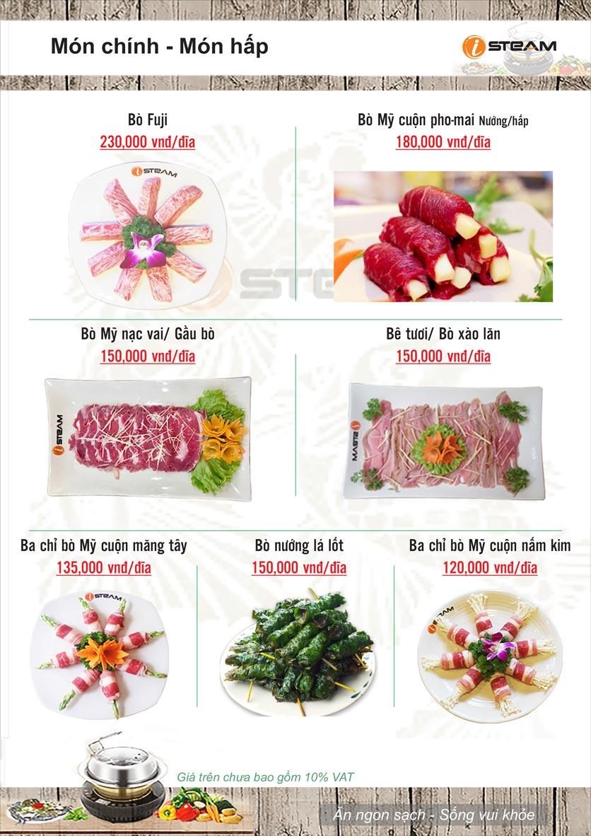 Menu Nhà hàng iSteam - Nguyễn Thị Định 8