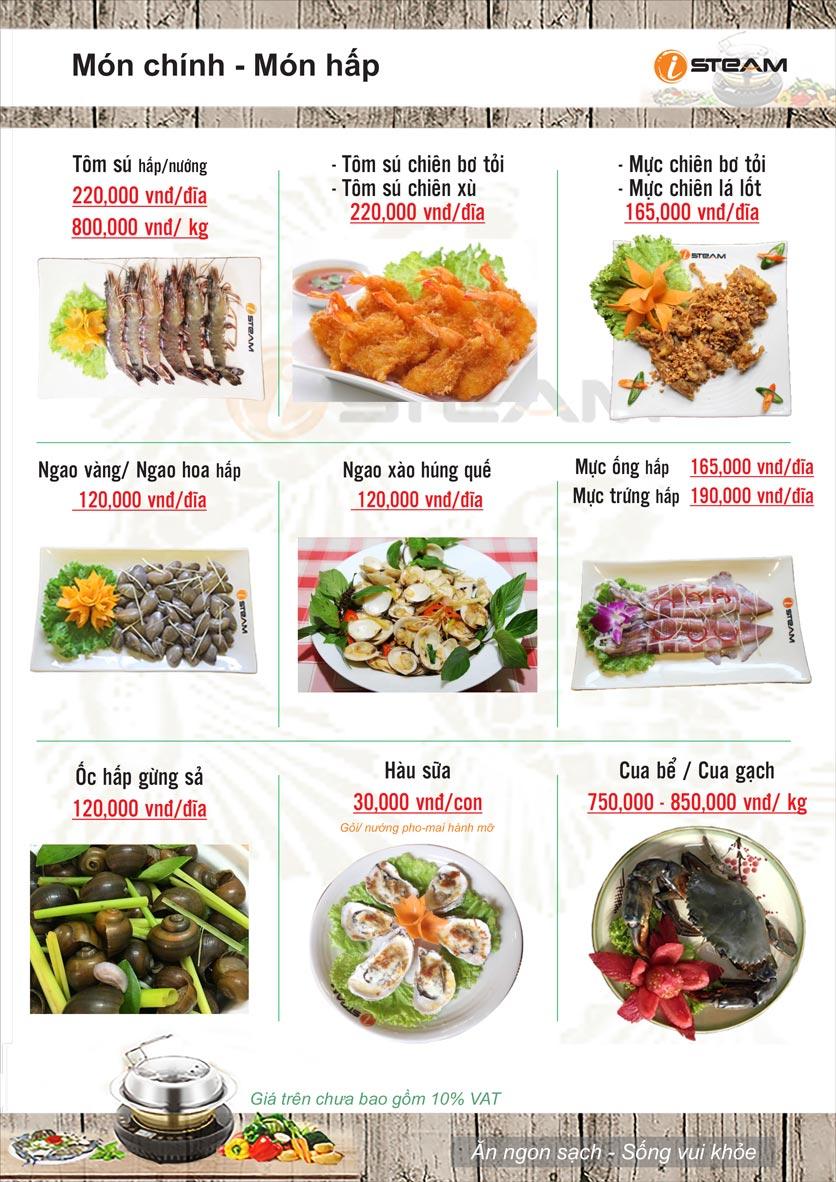 Menu Nhà hàng iSteam - Nguyễn Thị Định 9