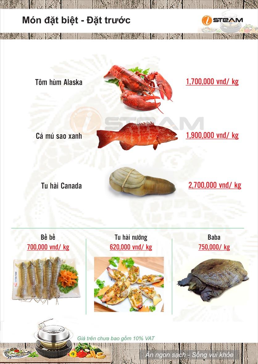 Menu Nhà hàng iSteam - Nguyễn Thị Định 12
