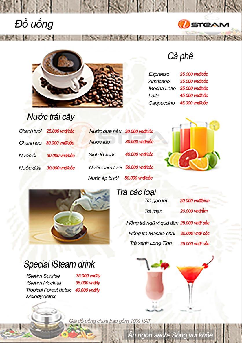 Menu Nhà hàng iSteam - Nguyễn Thị Định 13