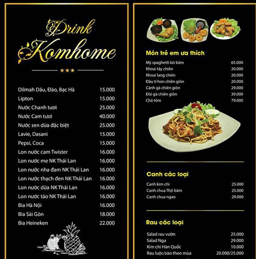 Menu Komhome - Nguyễn Phong Sắc 2