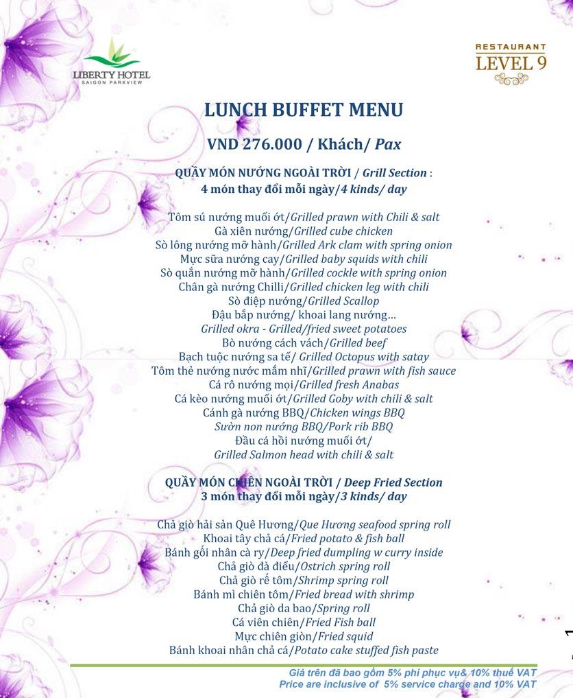 Menu Buffet Liberty Level 9 – Phạm Ngũ Lão 1