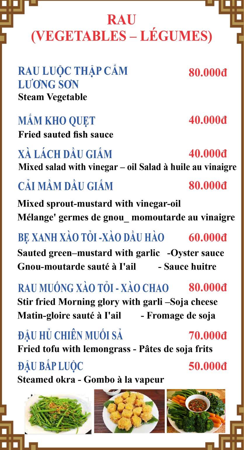 Menu Lương Sơn Quán – Bò Tùng Xẻo – Lý Tự Trọng  9