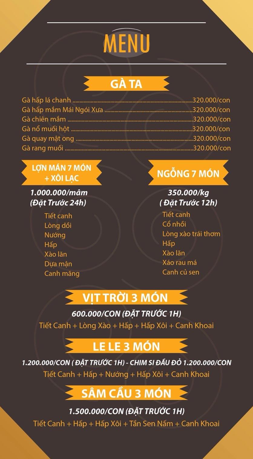 Menu Mái Ngói Xưa – Nguyễn Văn Lộc    2
