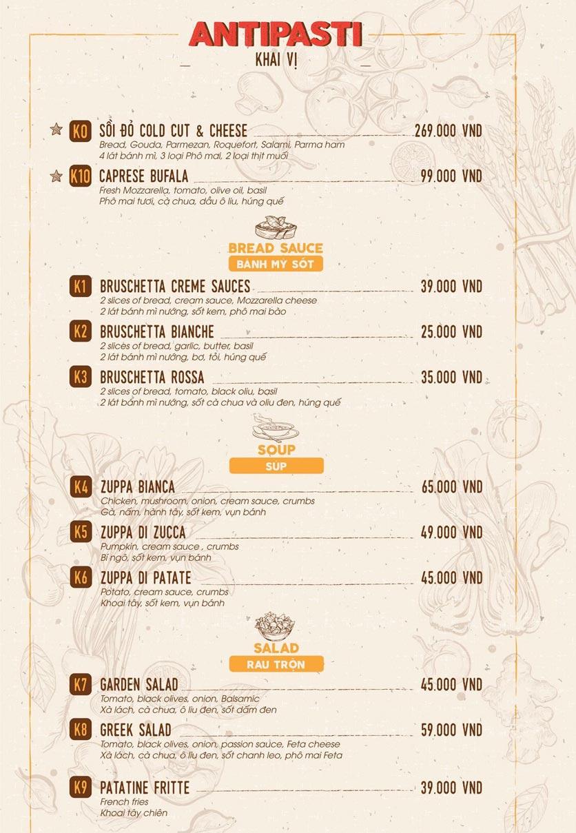 Menu Sồi Đỏ Pizza & Pasta - Phó Đức Chính 1