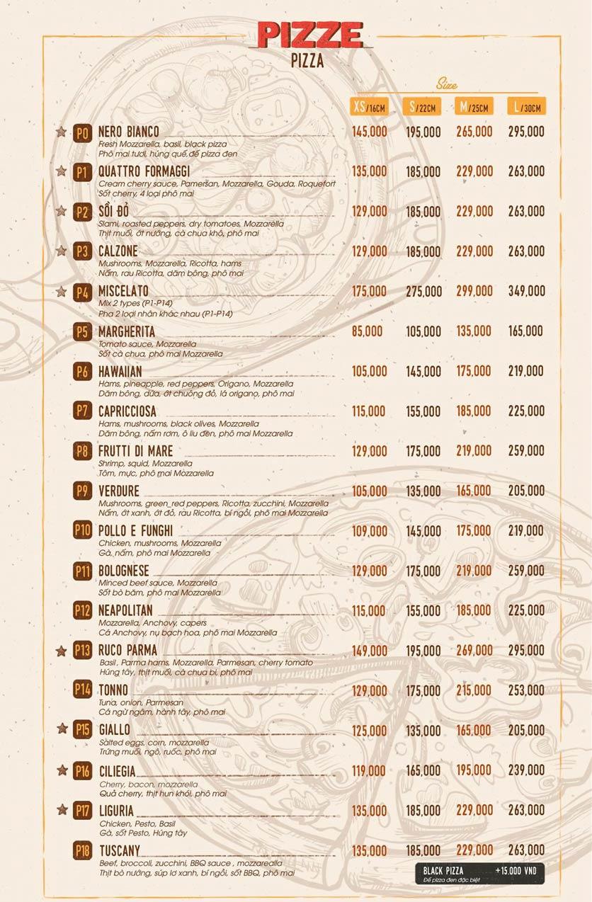 Menu Sồi Đỏ Pizza & Pasta - Phó Đức Chính 2