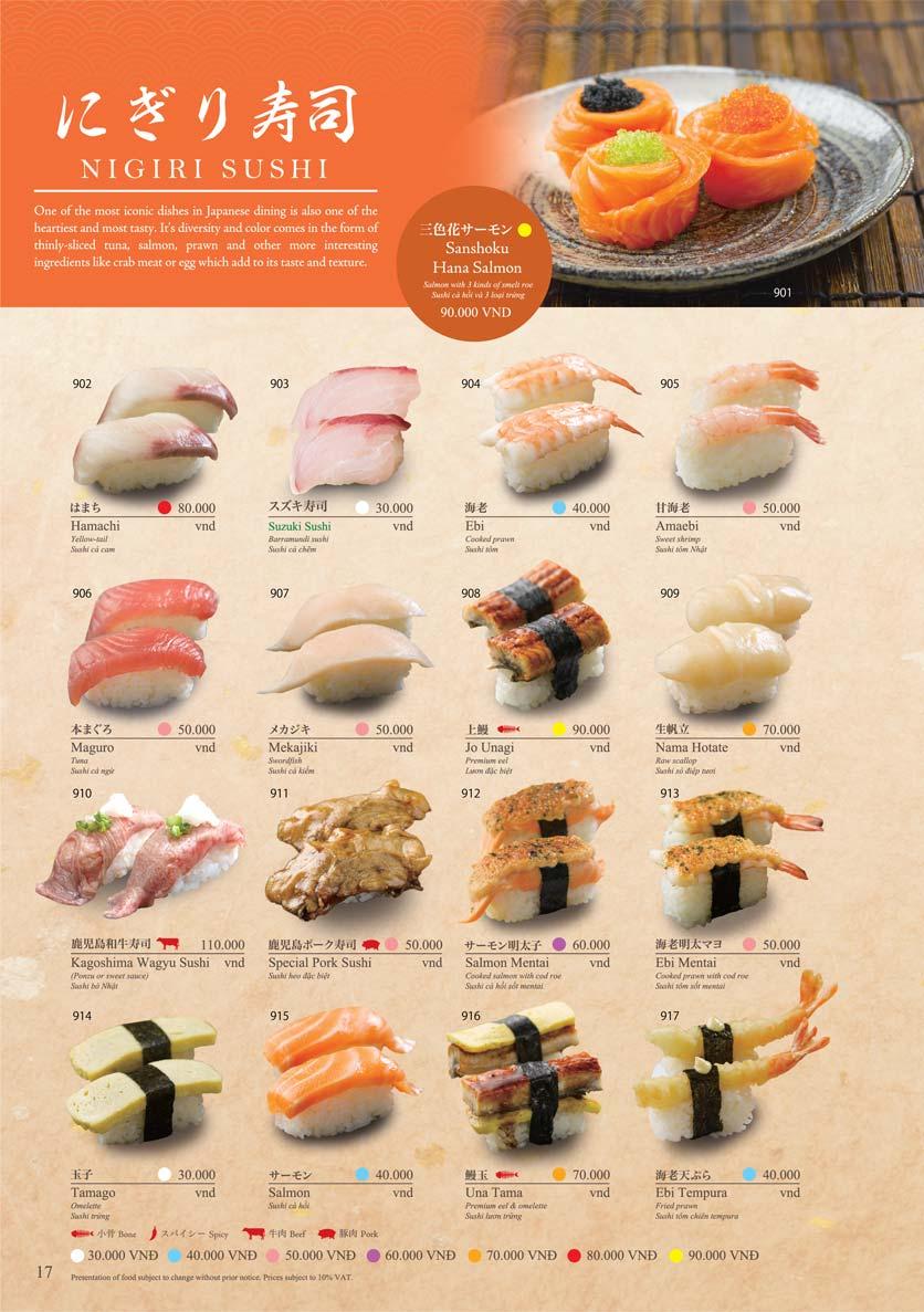Menu Sushi Tei – Cao Thắng 28