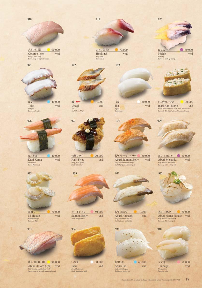 Menu Sushi Tei – Cao Thắng 29