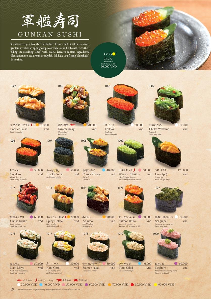 Menu Sushi Tei – Cao Thắng 30