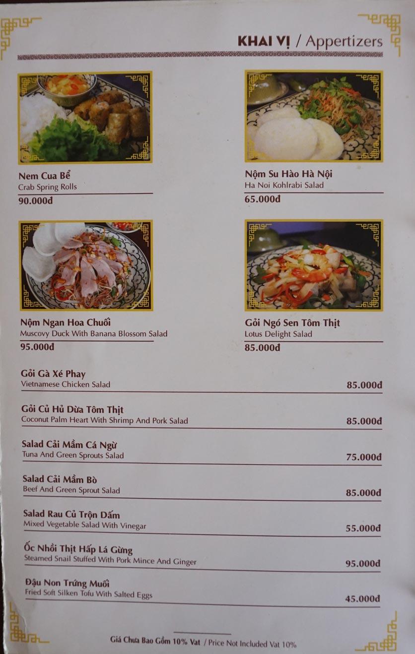 Menu Nhà hàng Việt - StarHill 1