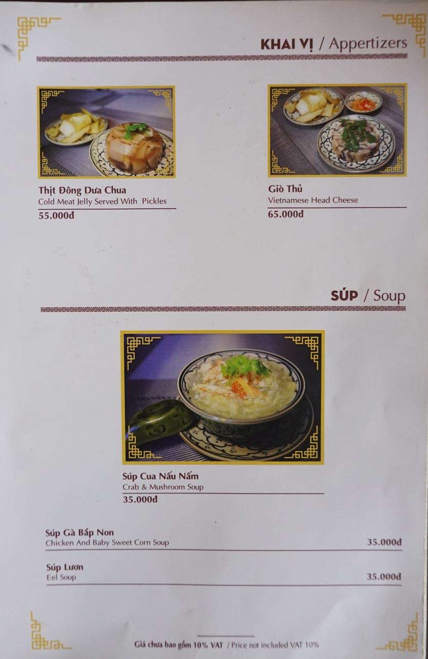 Menu Nhà hàng Việt - StarHill 2