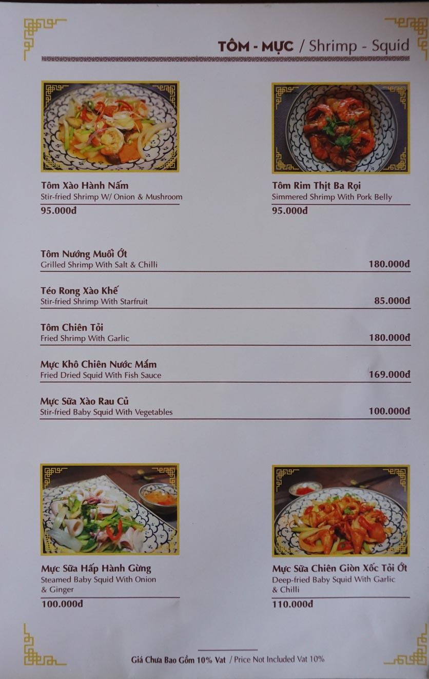 Menu Nhà hàng Việt - StarHill 7