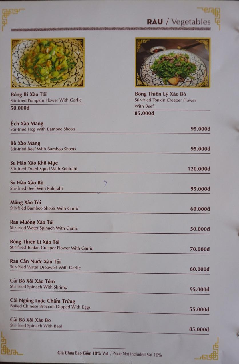 Menu Nhà hàng Việt - StarHill 10