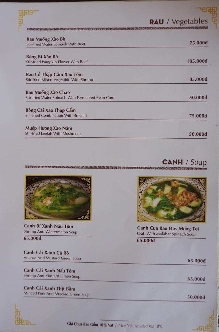 Menu Nhà hàng Việt - StarHill 11