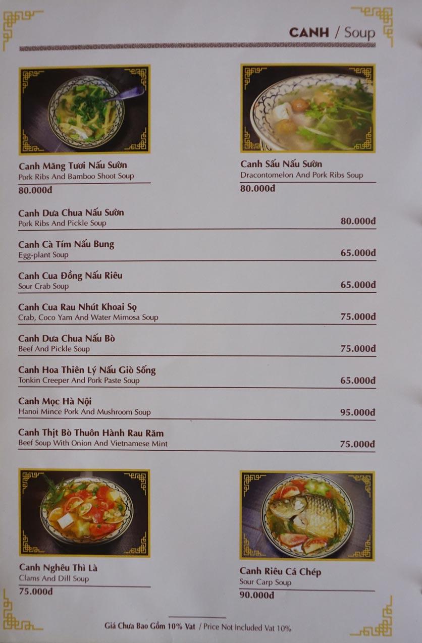 Menu Nhà hàng Việt - StarHill 12