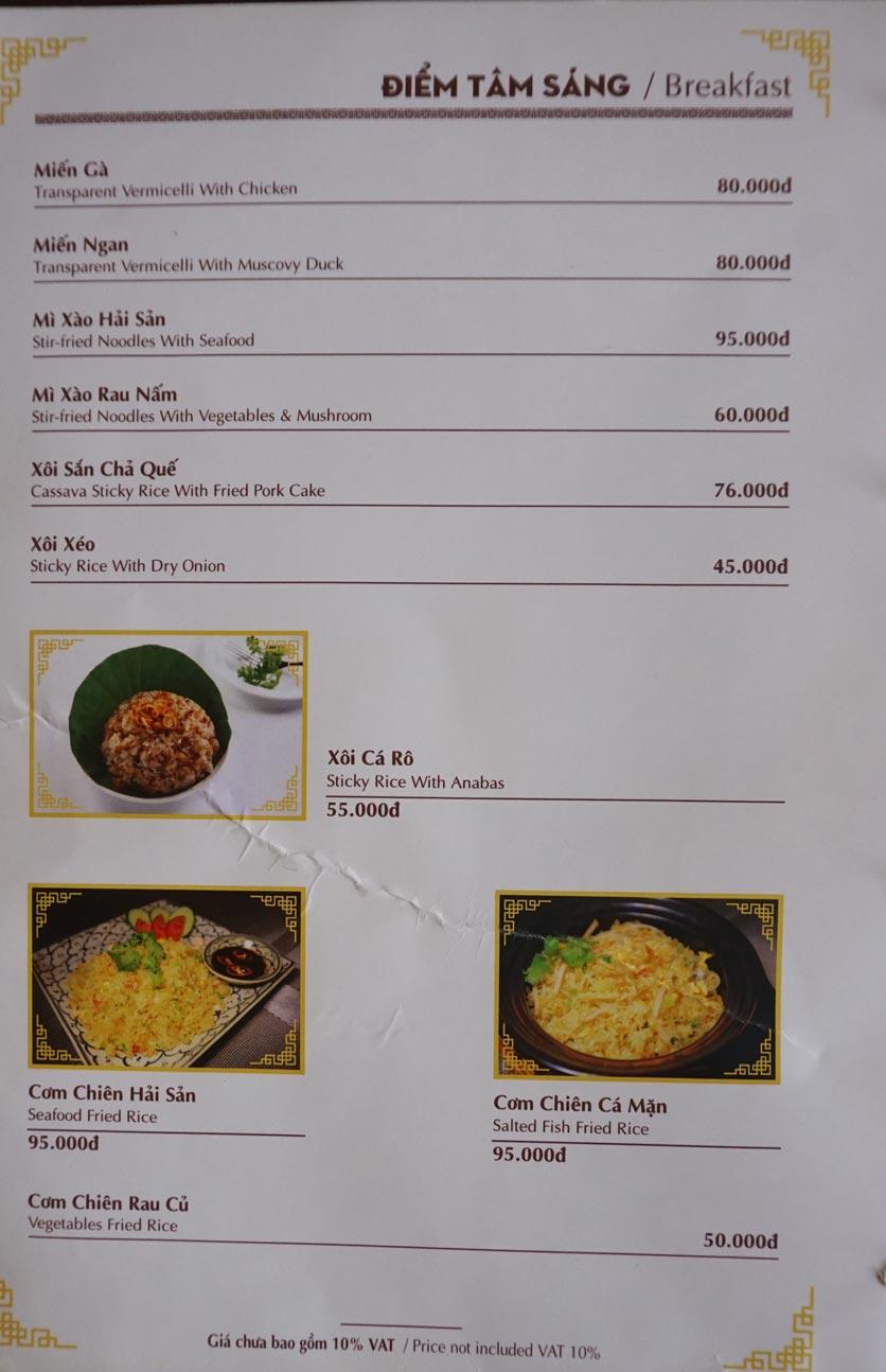 Menu Nhà hàng Việt - StarHill 15