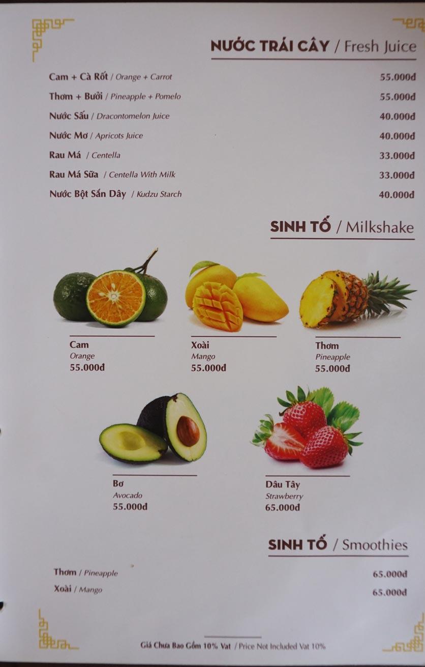 Menu Nhà hàng Việt - StarHill 19