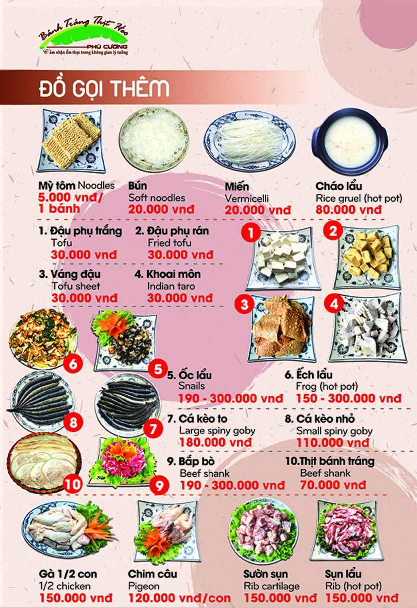 Menu Bánh Tráng Thịt Heo Phú Cường - Yết Kiêu 15