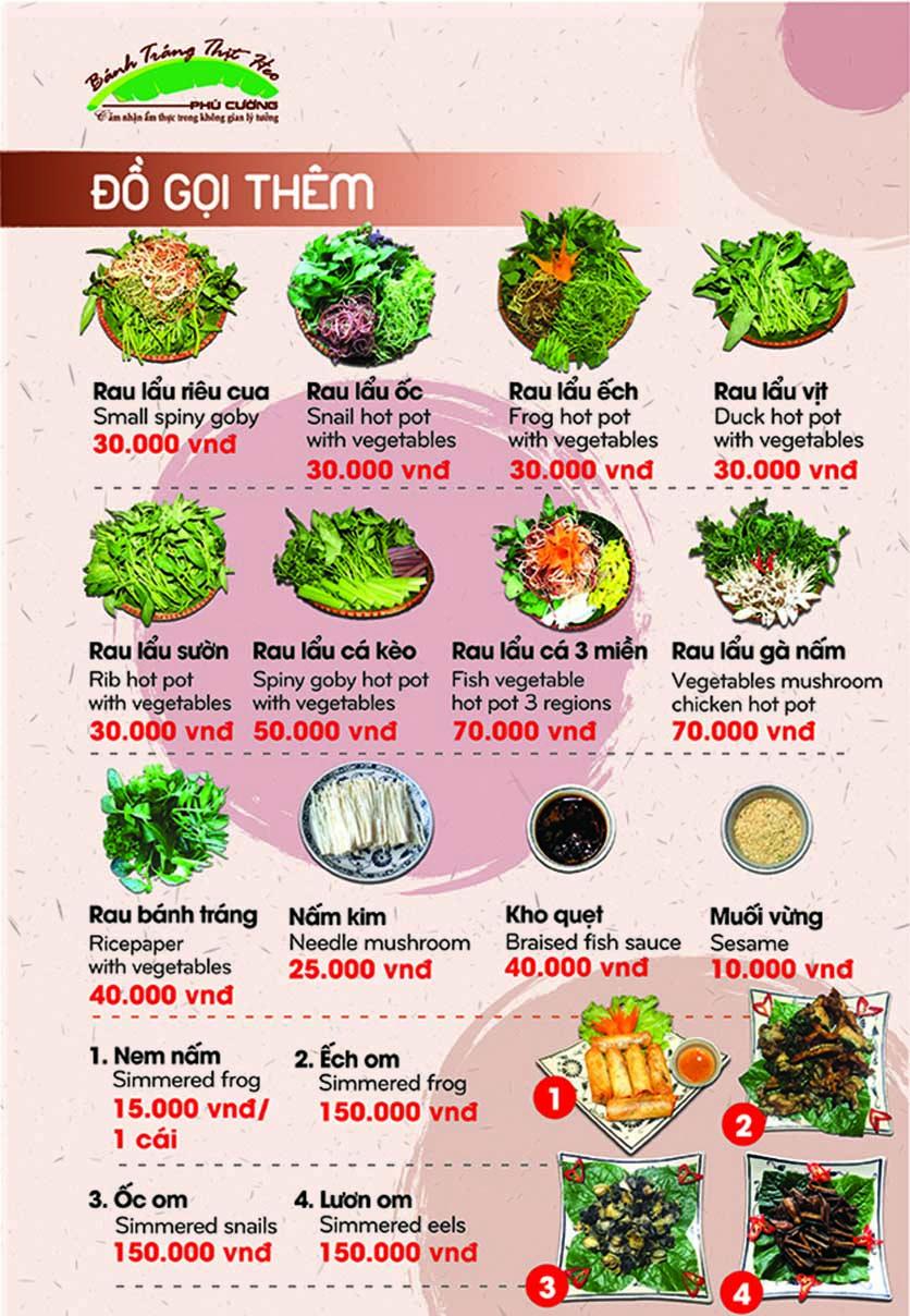 Menu Bánh Tráng Thịt Heo Phú Cường - Yết Kiêu 17