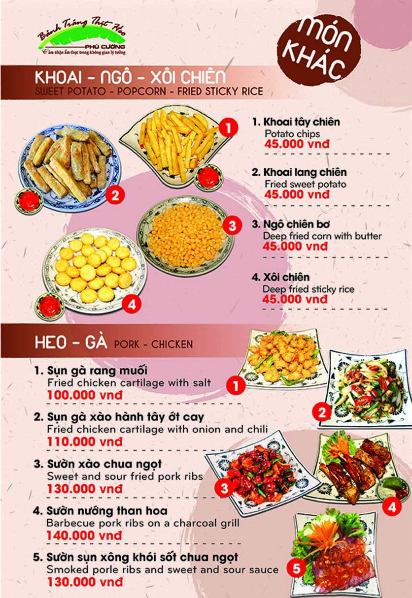 Menu Bánh Tráng Thịt Heo Phú Cường - Yết Kiêu 5